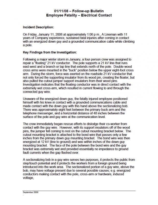 Union Employee Fatality Report
