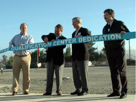 Doing the honors at the  ribbon-cutting ceremony  are, from left: IBEW Local  1245 Business Manager  Tom Dalzell, PG&E Vice  President Bob Howard,  PG&E Chief Operating  Officer Jack Kennan, and  PG&E Sr. Vice President  Engineering and  Operations.