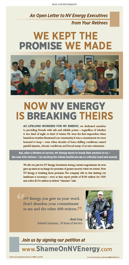 Newspaper Ad Calls Out NV Energy