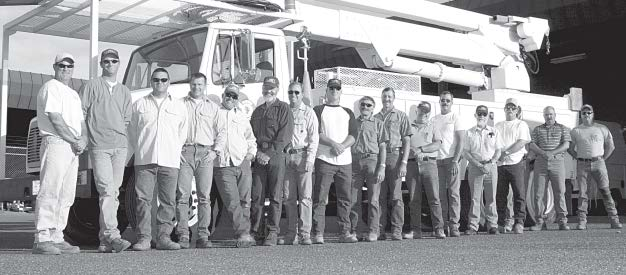 David Shulz, Lineman; Jeff Norwood, Lineman; Roy Dodgion, Lineman; Ken Enzi, Lineman; Tim Bogetti, Equipment Specialist; Wayne Holley, Lineman; Rich Willett, Lineman; Gerard King, Lineman; Barry Fisher, Construciton/Maintenance Supervisor; Bill Dolstra, Lineman;Gale Rees, Foreman; Jerry Michael, Sr. Electric Troubleshooter; Carl Lindstrom, Electric Utility Supt.; Michael Boyll, Lineman; Ed Fitzpatrick, Groundman; Daniel Ferguson; Chris Daniell, Equipment Operator, CIty of Lodi 2003