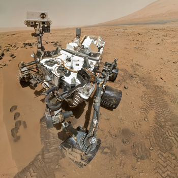 The Curiosity Rover on Mars. IBEW members worked on the electronics. Photo: NASA public domain, featured on Wikimedia Commons