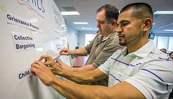 Steve Marcotte, left, and Rodrigo Flores sort through which issues are affected by politics, which by bargaining…and which issues are affected by both.