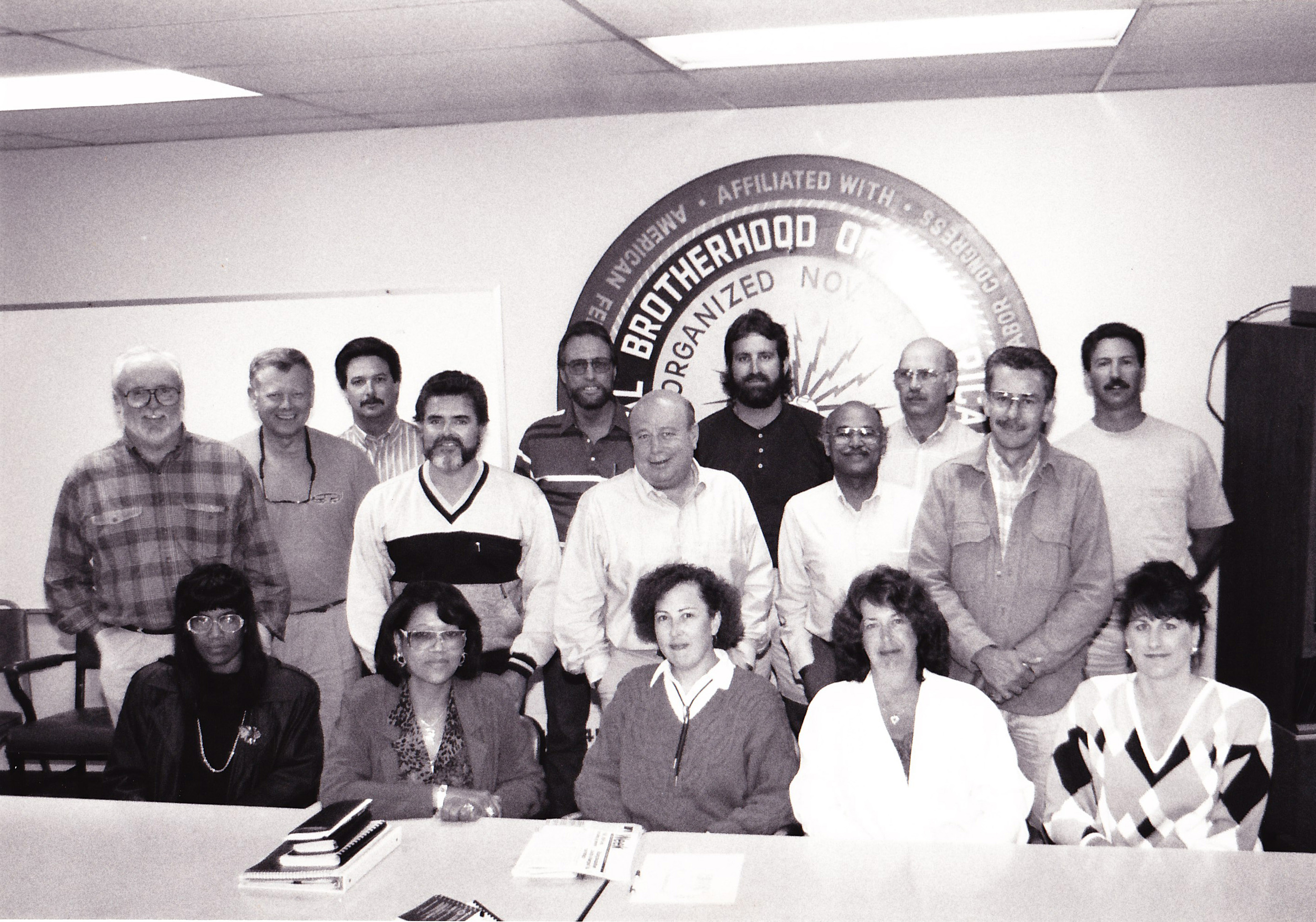 Debbie is right in the middle of the front row for this group shot of the PG&E Bargaining Committee in the early 1990s.