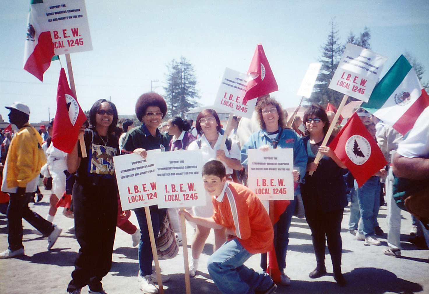 Debbie at a rally in support of the UFW Strawberry Workers campaign in the 1990s