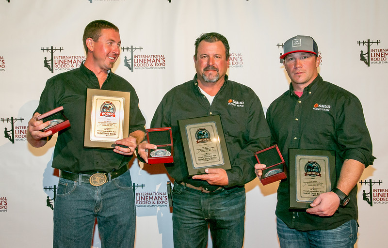 Cayleb Bowman, Todd Prangley and Matt Wilson from SMUD won 1st place in the Install Dolly Blocks event and 3rd place in the Pole Climb event.