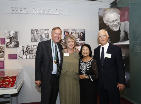 From left: Fred Ross Jr with sister Julia Ross, labor leader Dolores Huerta and brother Bob Ross, in front of the Fred Ross Sr exhibit at the California Museum.  Photo by Peter A. Williams. © The California Museum