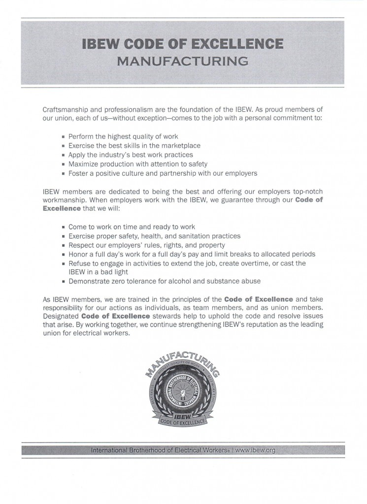 IBEW Code of Excellence handout for Manufacturing membership and employers.