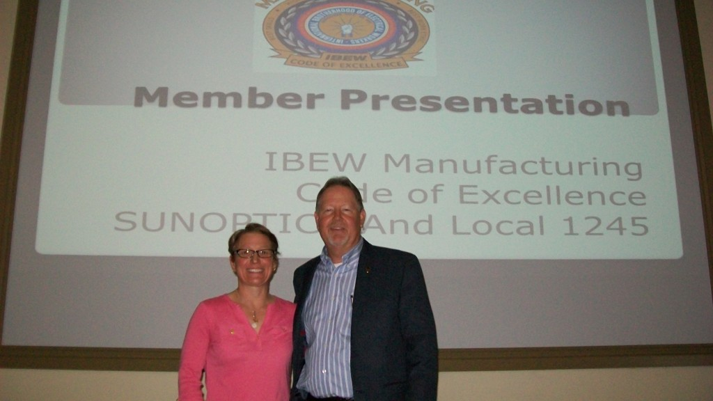IBEW International Representatives Tracy Prezeau and Charlie Randall preparing for a COE training in Sacramento