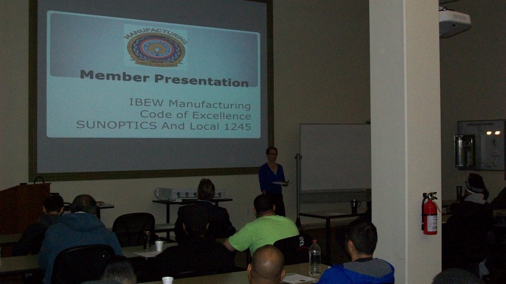IBEW Education Department International Representative Tracy Prezeau training COE at Sunoptics in Sacramento on March 26, 2015.