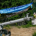 IBEW member Todd Nuse hangs a Welcome sign in Shelter Cove, Calif., on June 18th, 2015.