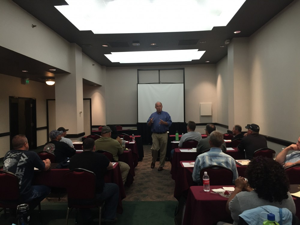 Business Manager Tom Dalzell addressing the shop stewards on June 2 in Reno