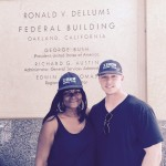 VOC members Alfreda Smith and Braden Warrender proudly don IBEW 1245 hats after the NLRB vote tally