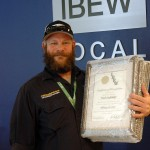Kurt Kidwell accepting the Life-Saving Award on behalf of the PG&E crew that rescued a choking baby earlier this year