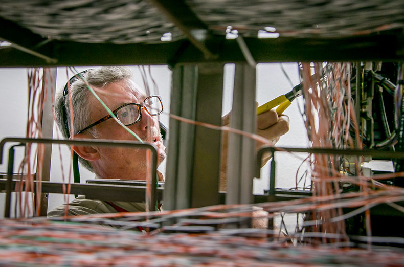 """""""IBEW 1245 member Randall Weston checks wiring for Frontier Communications in Elk Grove, Calif.,  on July 28th, 2015."""""""
