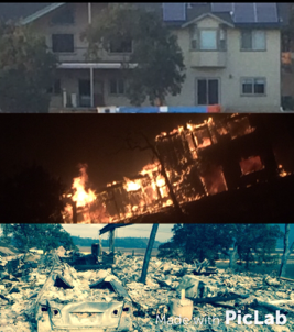 This photo collage depicts the Smith house before, during and after the fire.