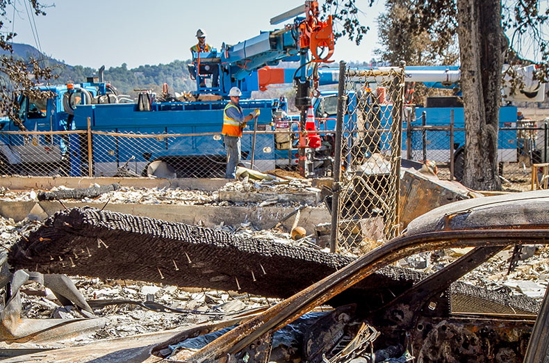 PG&E crews replace poles after the Valley Fire in Hidden Valley , Calif. on Friday, September 18th, 2015.