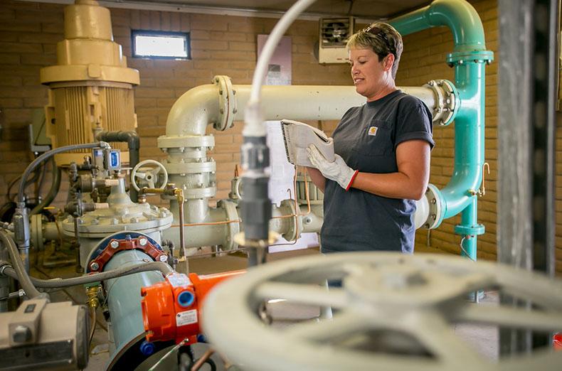 """IBEW members of the Truckee Meadows Water District work in Reno, Nevada, on July 23rd, 2015."""