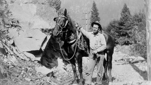 Horses and mules were indispensable to early linemen working in the Sierras. This lineman probably worked for Great Western Power. IBEW 1245 Archive