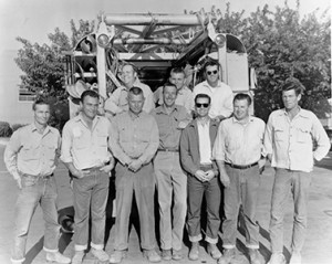 Slim Ambrose, middle, with his SMUD crew in the 1950s. IBEW 1245 Archive