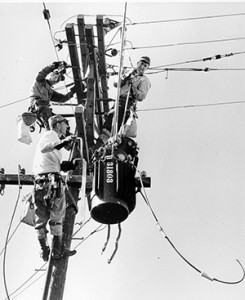 SMUD linemen working in the 1950s, from left, are Archie Horton, Doug Skinner, and Norm Ficker. Foreman on the job was Elmer Klassen. IBEW 1245 Archive