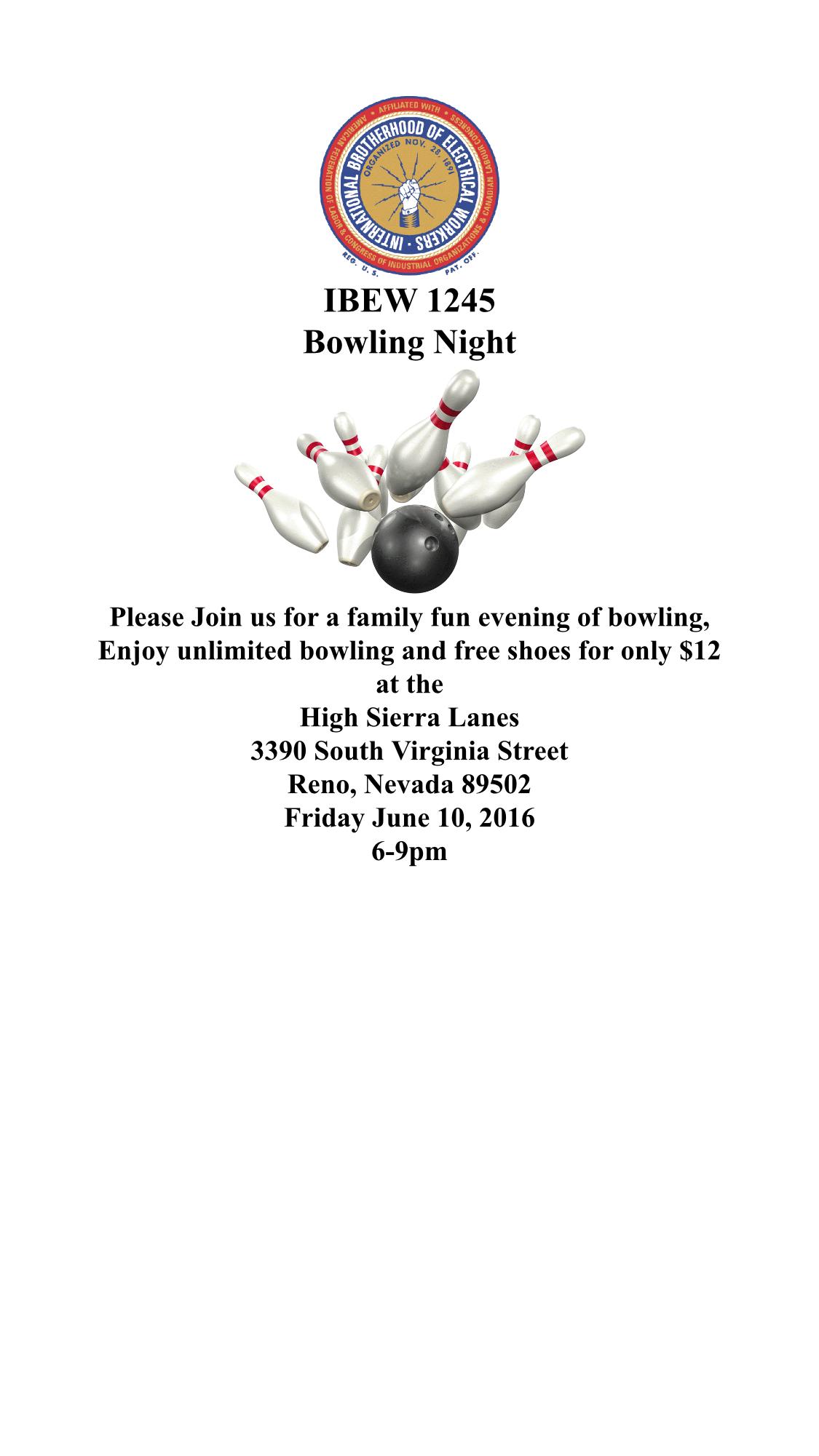 Reno Calendar June : June family bowling night in reno
