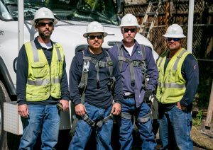 IBEW members, left to right, Chris Foster, Mark Guerrero, Brian Goshia and Brandon Quijada