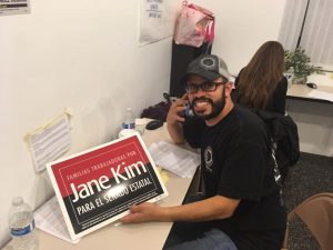 Arnaldo Lizarraga making calls for State Senate candidate Jane Kim