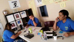 Rene Cruz-Martinez, Shannon Akhbari and Brittney Sandana making calls in Arizona