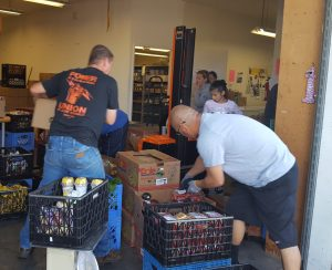 In Lompoc, stocking shelves at the food pantry