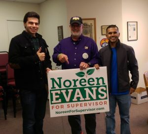 Mark Malouf from the North Bay Labor Council, Chip Atkin from SEIU and Local 1245 Organizing Steward Rodrigo Flores