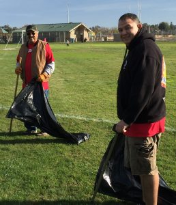 Picking up trash at a park in Ceres