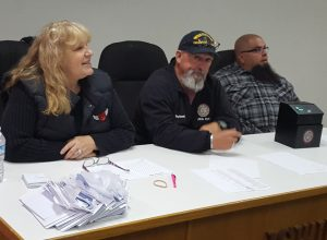 (from left) Shop Steward Angela Wynne and tellers John Daniel and Gustavo Lopes tally votes.