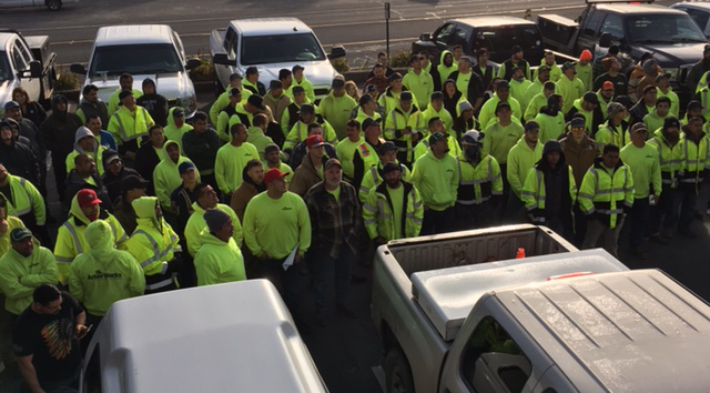 A large crowd gathered for a safety stand-down in Brother Mayer's honor on Dec. 5