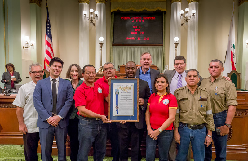 The delegation received and award when they visited the State Capitol