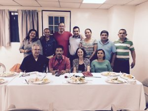First Meeting with STESEC Seated:  Jose Artiga, SHARE Foundation, STESEC Secretary General Rene Giron, IBEW 1245 Organizer Eileen Purcell, STESEC Secretary Treasurer Carla Silva and members of the STESEC Executive Board in El Salvador, December 2015.