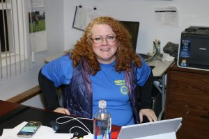 Kristen Rasmussen used her expertise to help set up the phone-banking software