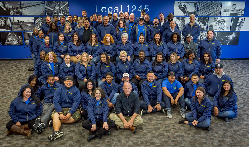 The 2017 class of Organizing Stewards with Local 1245 Business Manager Tom Dalzell