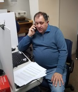 Steve Marcotte making phone calls to consituents