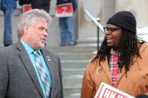 Xzavier Knox (right) with New Hampshire AFL-CIO President Glenn Brackett