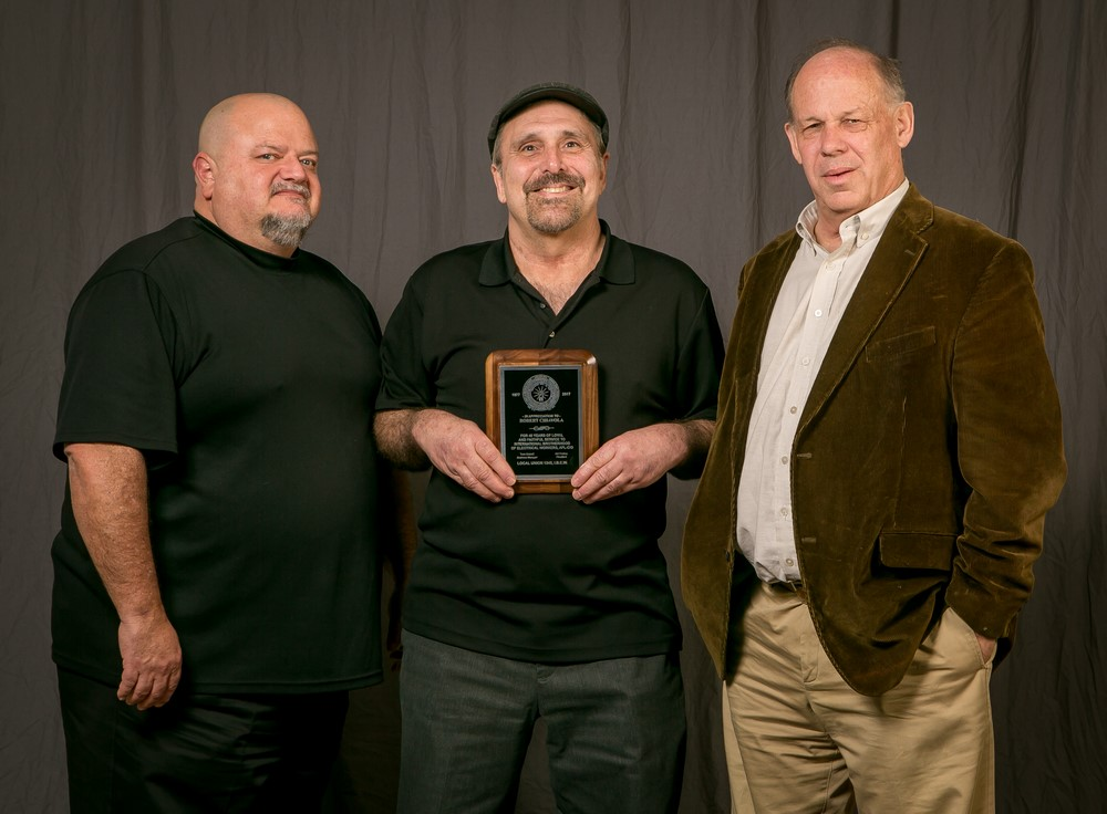 40 year member Robert Chiavola (center) with Bob Dean, left and Tom Dalzell