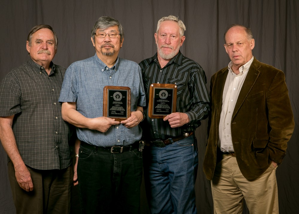45 year members (from left) Arthur Iwasaki and Rexiford Pickering with Tom Dalzell, far right, and Carl Lamers