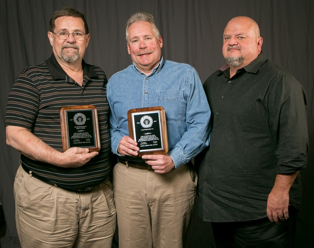 40 year members, from left; Aric Cook, Bryan Coleman with Bob Dean