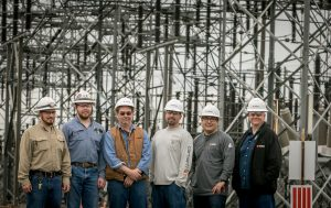 IBEW 1245 members, left to right; Christopher Dahl, Craig Akers, Stephen Oberson, Jimmy Ferris, Toshi McCormick and Dennis Lindner