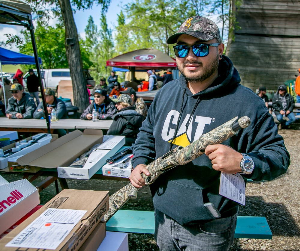 Bao Nguyen Mac with the shot gun he won at the IBEW 1245 Clay Shoot in Dunnigan, Calif. on April 8th, 2017.