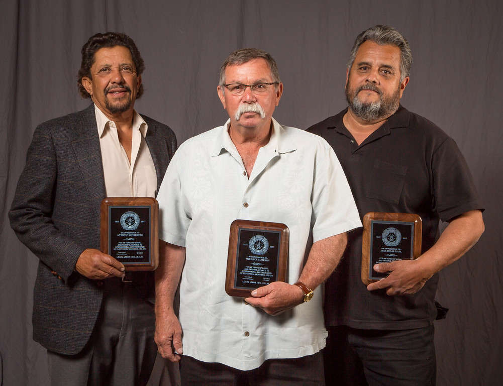 40 year members; l to r;  Antonio Gutierrez, Michael Jameson and Jess Rosales Jr.