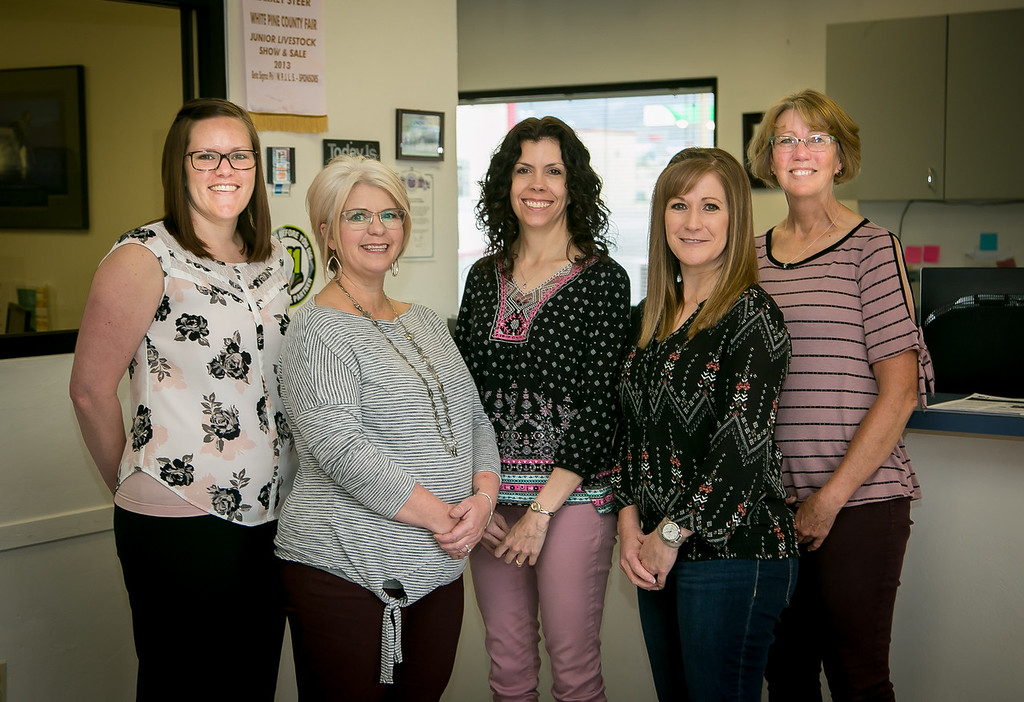 Mt. Wheeler's clerical team, from left: Tandy Haslem, Christina Sawyer, Lynn Sorenson, Lelly Jackson, and Sherrie Marquez