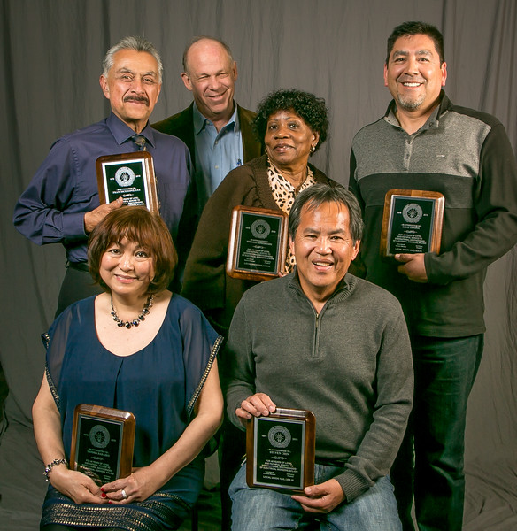 40 year members, from left: Front row- Sandra Barairo and Steven Chin. Back row- Francisco Gonzalez, Business Manager Tom Dalzell, Phyllis Robinson and Gene Tafoya