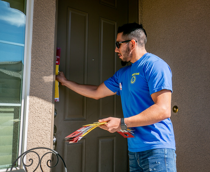 IBEW 1245 members Jerico Jimenez, Brittney Santana, Teofilo Freeman, and Tracey Amaro walk a neighborhood for the No on 3 Campaign in Las Vegas, Nevada  on October 17th, 2018.