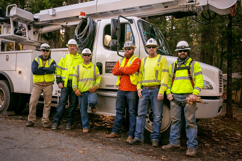 IBEW 1245 Outside Line crew from Summit Construction, left to right;  Bronson Lee II, Rick Kennedy, Travis Citro, Jake Jared, Jim Taylor and Louis Campbell