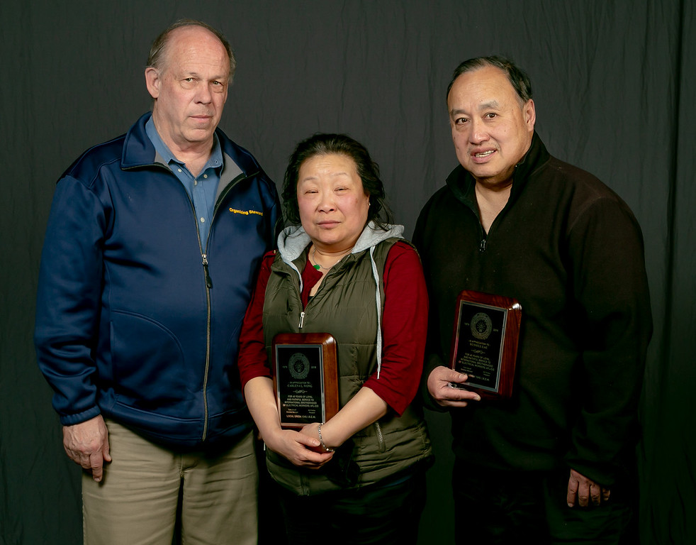 40 year members, from left: Business Manager Tom Dalzell, Carlena Wong and Russel Lau
